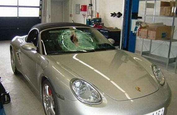 Porsche Boxster vs a Bird at a Speed of 155 mph (250 km/h) (3 pics)