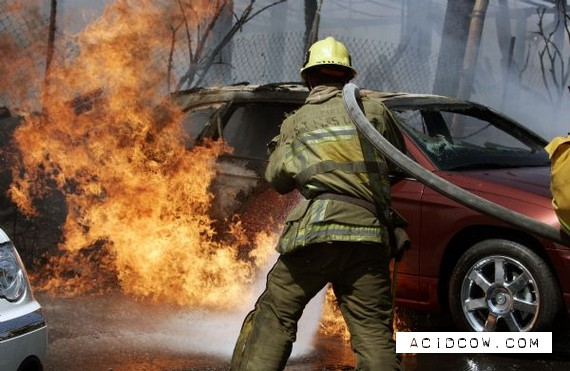 Fire in auto show in Los Angeles (20 pics)