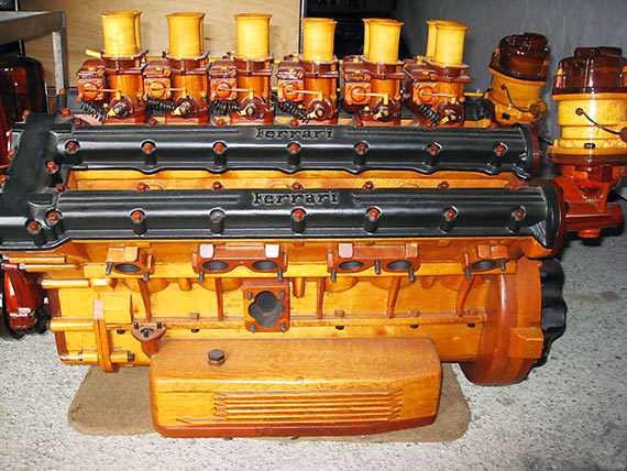 Amazing Hand-Built Wooden Ferrari Engine...