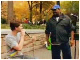 A man is beatboxing in a street of New York (6.5 Mb)