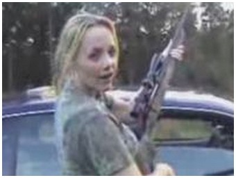 Blond girl blows up 5 gallons of gas with a big gun! (4.6 Mb)