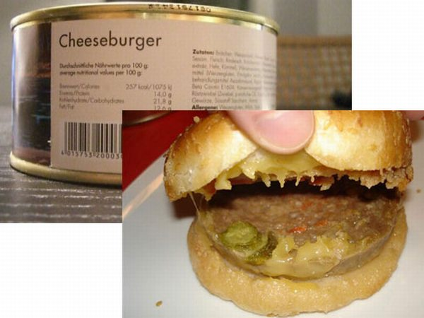 canned cheese burger