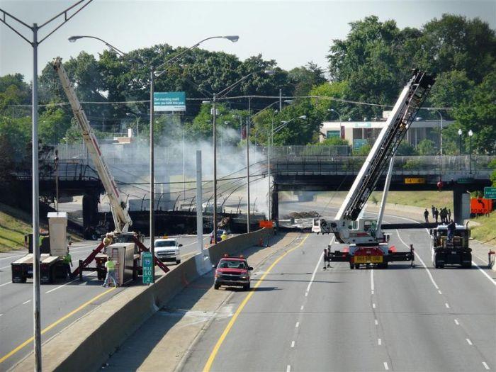 Gasoline tanker explosion collapsed a bridge  (42 pics)
