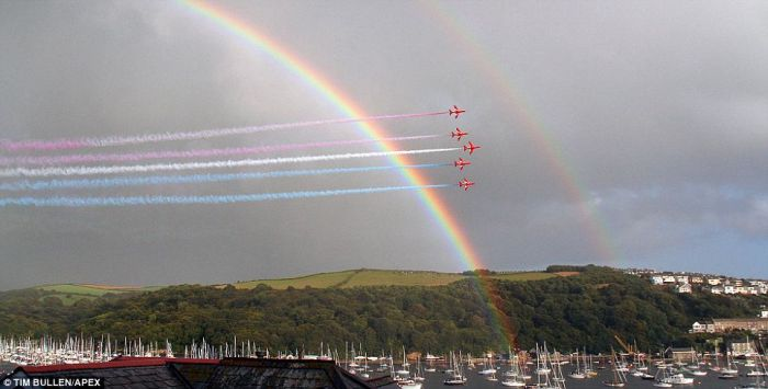 Red Arrows and a rainbow  (4 pics)