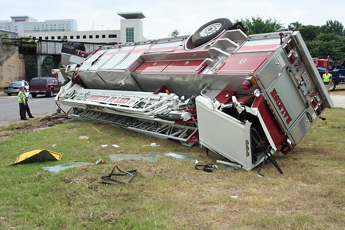 Fire-fighting vehicle flipped over in Wake County, North Carolina (30 pics)