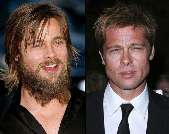 Celebreties with and without beards (12 pics)