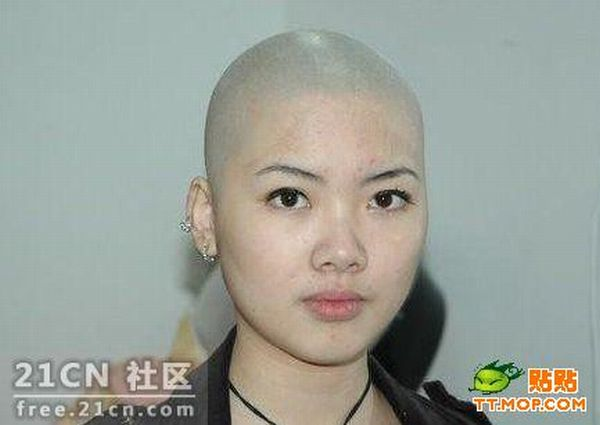 Asian Girl With Shaved Head (5 pcis)