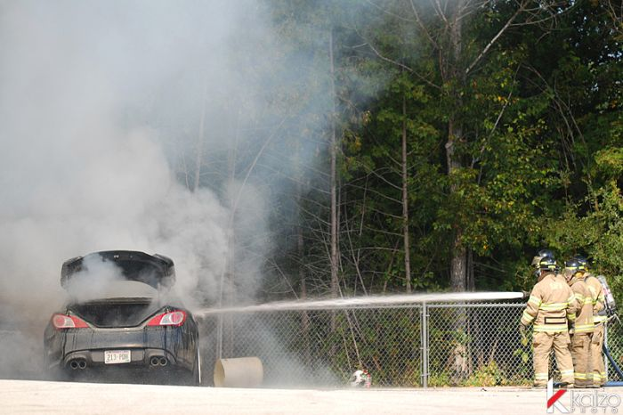 Hyundai Genesis Coupe didn't survive a drifting competition (25 pics)