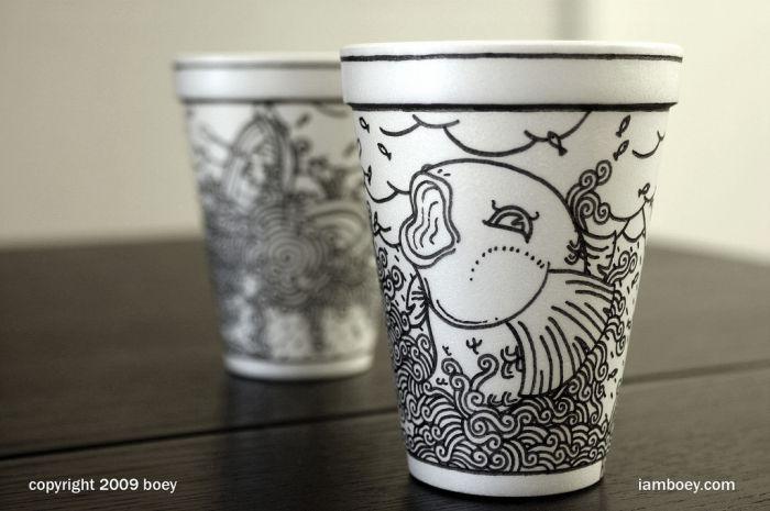 Relatively Sharpie Art on Styrofoam Cups (79 pics) ND09