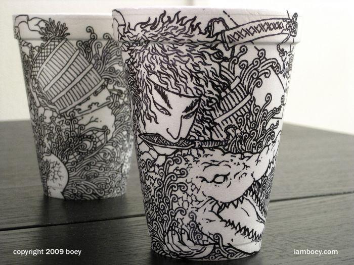 Sharpie Art on Styrofoam Cups (79 pics)