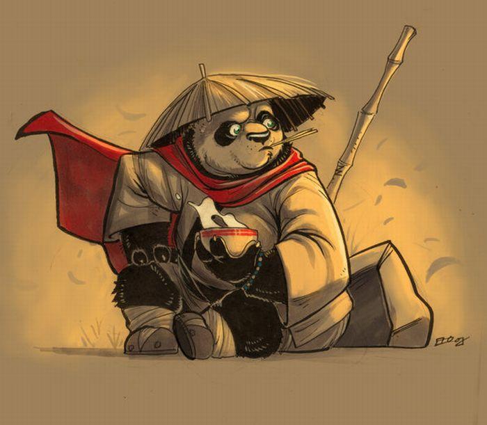 Los simpaticos pandas en dibujos !