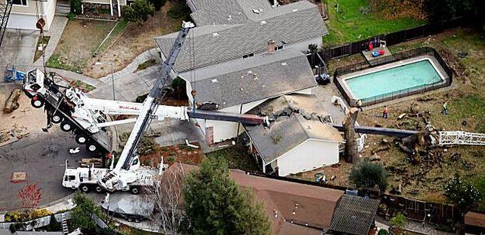 100K-pound crane smashes a house (6 pics)