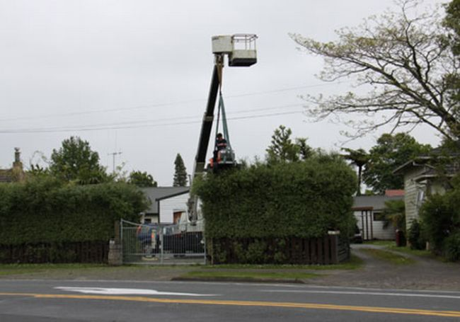 Man Uses Mower Attached to Crane to Trim Hedge (4 pics)