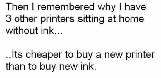 It's Cheaper to Buy a New Printer Than to Buy a New Ink (4 pics)