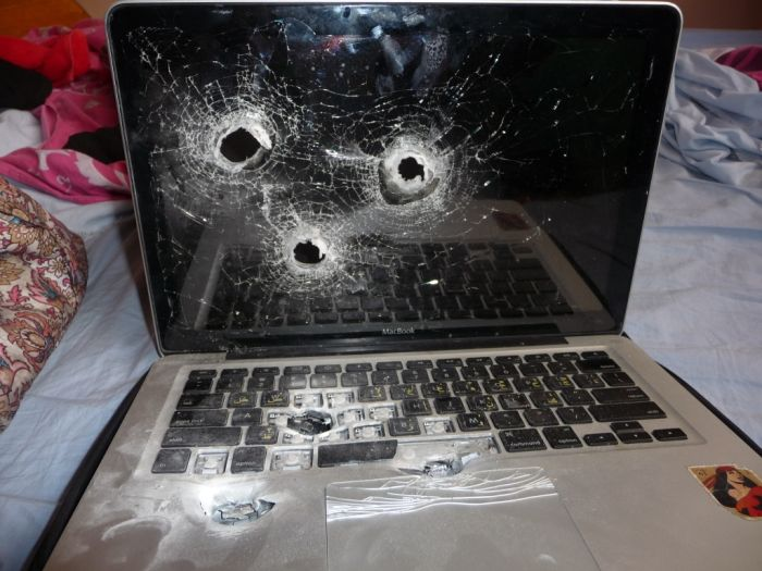 I'm sorry but we blew up your laptop (3 pics)