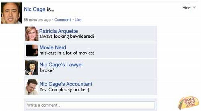 Celebrity Facebook Status Updates (7 pics)