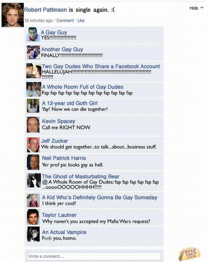 Celebrity Facebook Status Updates (7 pics)