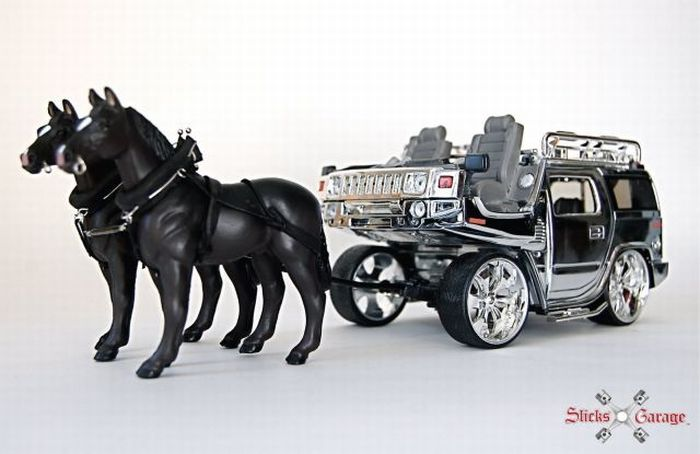 A Horse Cart Made out of a Brand New Hummer (10 pics + video)