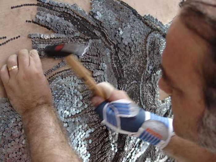 The Largest Nail And Toothpicks Mosaic Ever Made (26 pics)