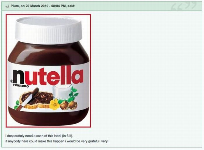 I Need a Scan of Nutella Label (4 pics)