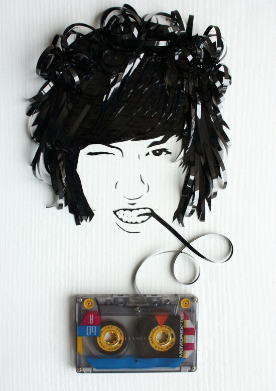Portraits Made Out of Cassette Tapes (31 pics)