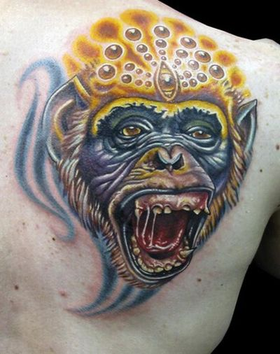 funny monkey pictures. Funny Monkey Tattoos (20 pics)