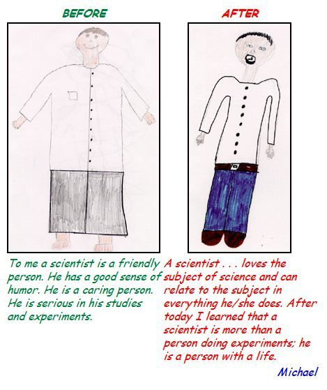Kids Draw Scientists Before and After a Visit to Fermilab (30 pics)
