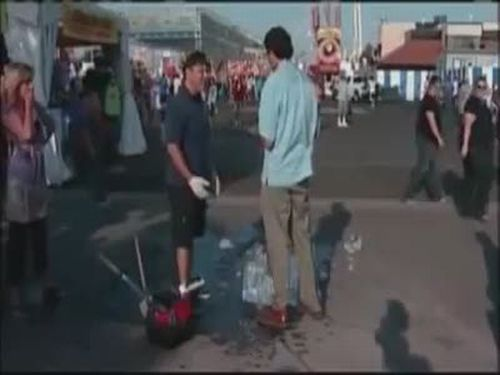 Reporter Destroys an Ice Sculpture