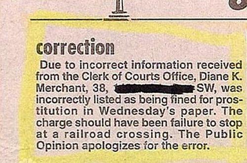 Funny Newspaper Retraction (15 pics)