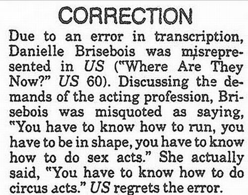 Funny Newspaper Retraction (15 pics)