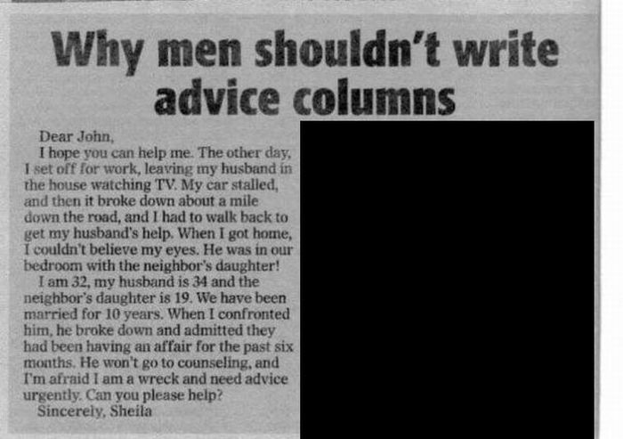 Why Men Shouldn't Write Advice Columns (1 pic)
