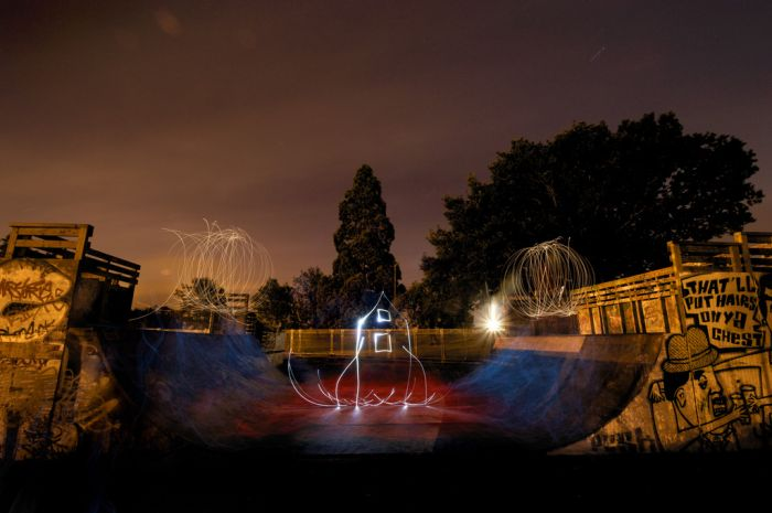 Playing with Light in a Skate Park (15 pics)
