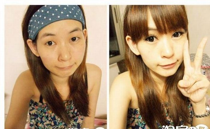 Asian Girls Before and After Make Up (22 pics)