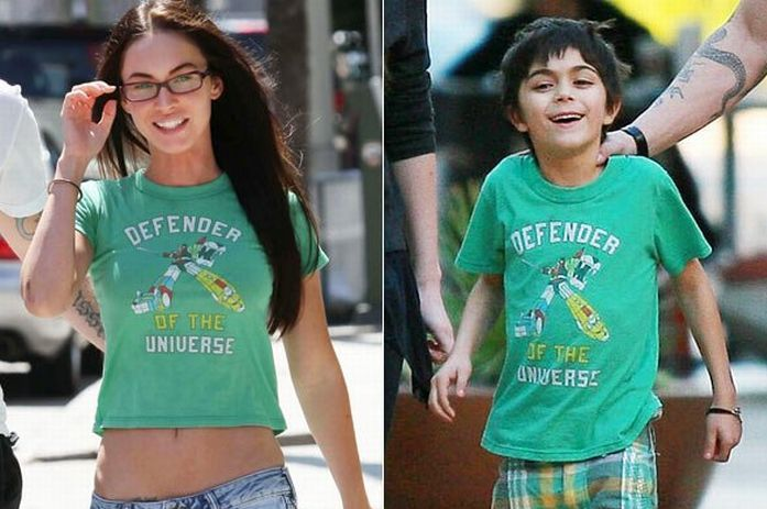 Megan Fox Borrows T-Shirts from Her Stepson (2 pics)