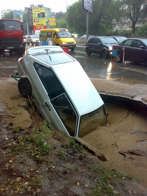 Road Collapse in Russia (6 pics)