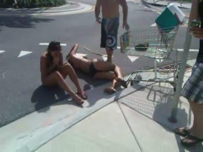 Girls in Shopping Cart Fail