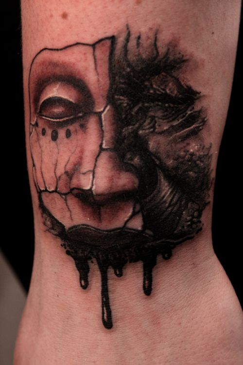Melting face mask tattoo cool tattoos online for Face mask tattoo