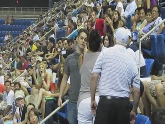 A Fight Between Spectators at US Open Arthur Ashe Stadium
