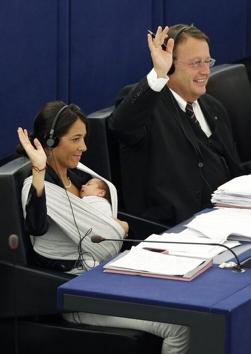 Member of European Parliament Took Her Baby to Work (10 pics)