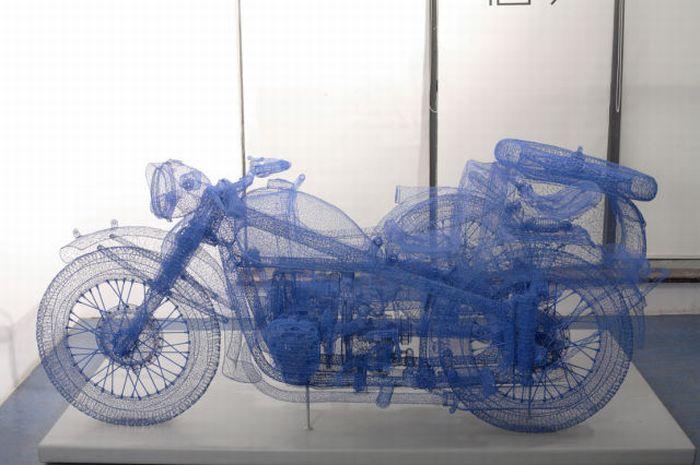 Esculturas de alambre de pollo en 3D