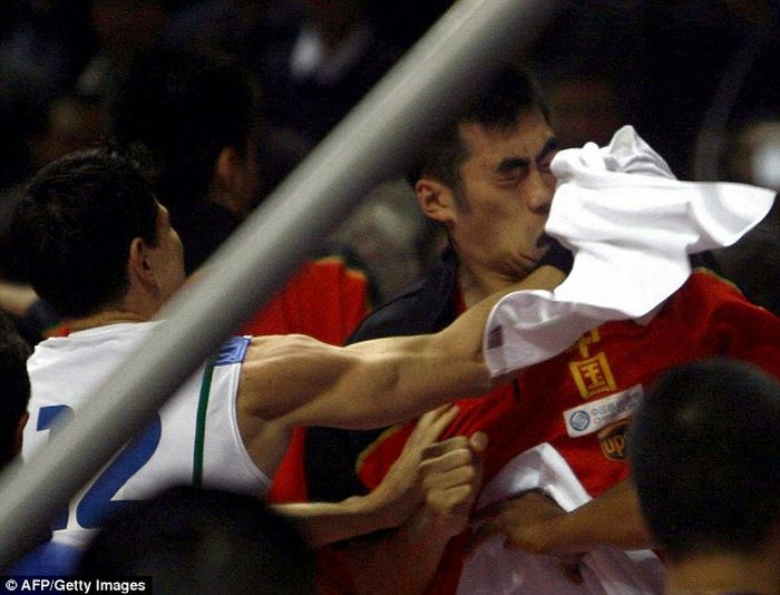 Massive Brawl at China vs Brazil Game (20 pics + video)