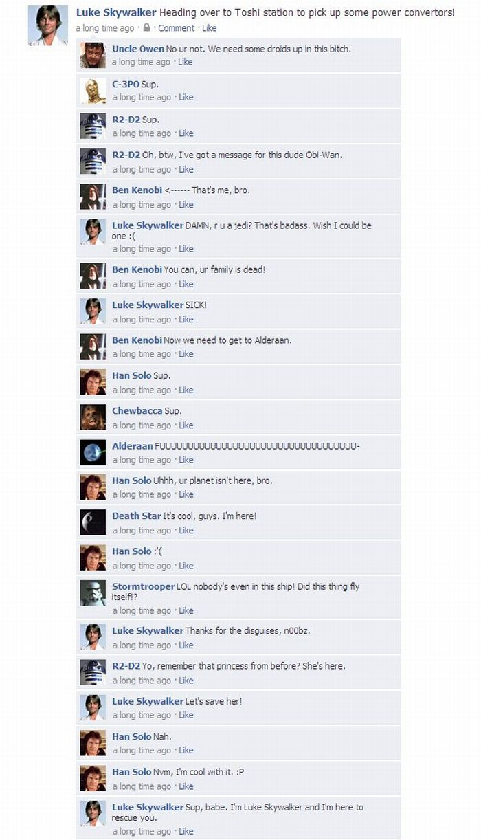 """The Entirety of """"Star Wars: A New Hope"""" in One Facebook Thread (2 pics)"""
