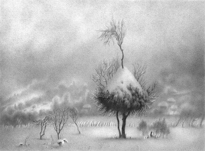 Winter Landscapes Drawn with a Pen (22 pics)