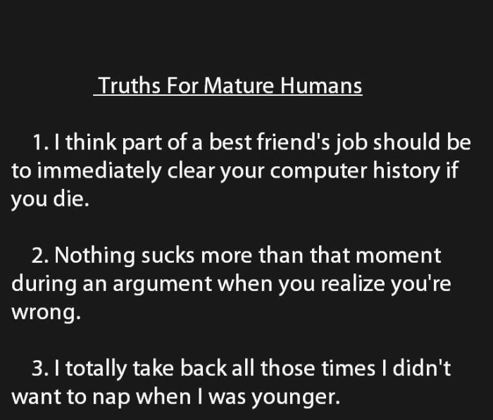 Truths for Mature Humans (6 pics)