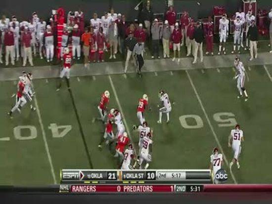 Crazy Oklahoma State Interception vs. Oklahoma on Nov. 27