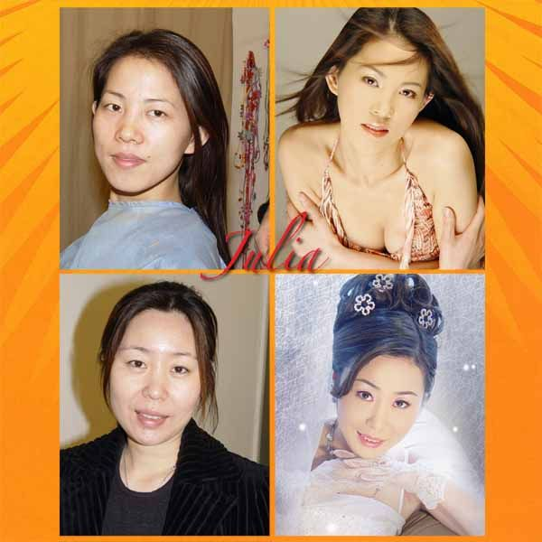 Сhinese Brides With and Without Makeup (6 pics)