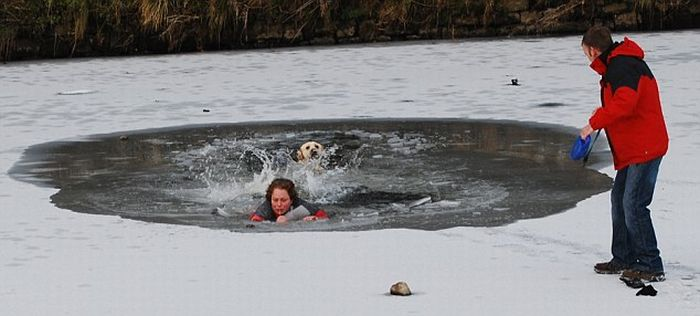 Dog Owner Almost Die Trying to Save Her Dog (4 pics)