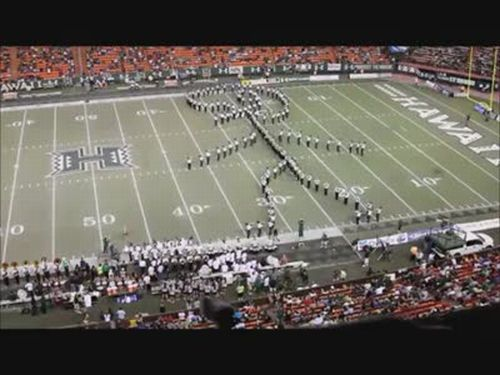 Marching Band Forms Giant Football Player