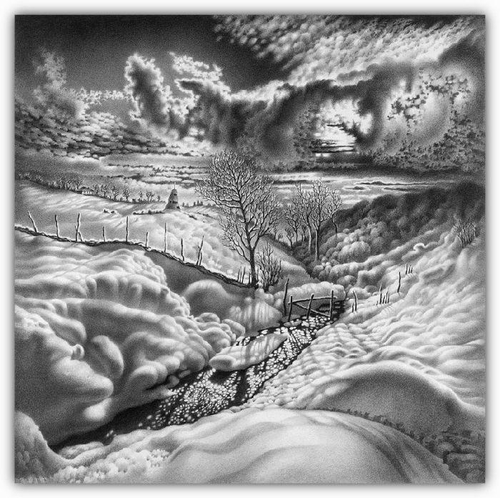 Paisajes de invierno dibujados con lápiz Parte 2 (Taringa)