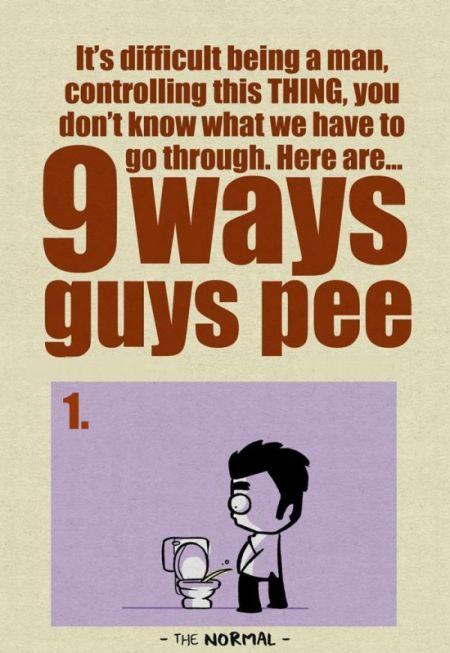 9 Ways Guys Pee (1 pic)
